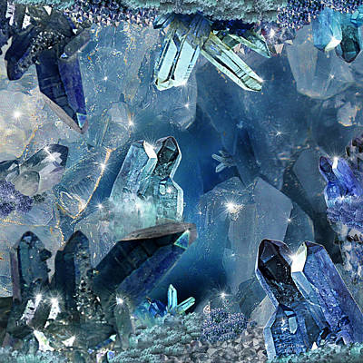 Digital Art - The Legend Of Sapphire Cavern by Artful Oasis