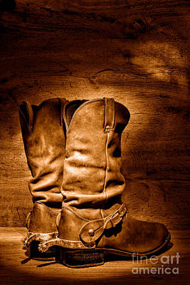 Photograph - The Legendary Cowboy Boots - Sepia by Olivier Le Queinec