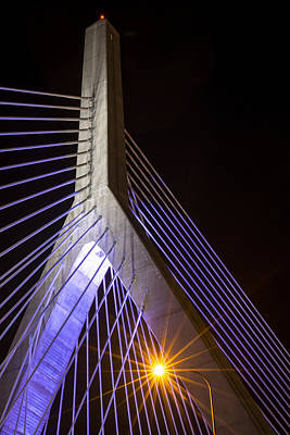 Photograph - The Lenny Zakim Bridge Lit Up In Purple Closeup by Toby McGuire