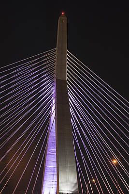 Photograph - The Lenny Zakim Bridge Lit Up In Purple by Toby McGuire