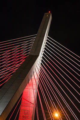 Photograph - The Lenny Zakim Bridge Lit Up In Red Closeup by Toby McGuire