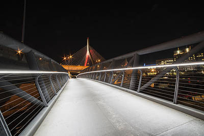 Photograph - The Lenny Zakim Bridge Lit Up In Red Footbridge by Toby McGuire