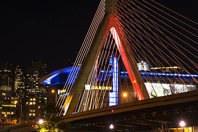 Photograph - The Lenny Zakim Bridge Lit Up In Red Td Garden by Toby McGuire