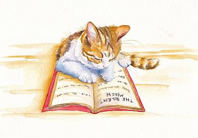 Cat Wall Art - Painting - The Lesson by Debra Hall