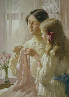 Curtains Painting - The Lesson by William Kay Blacklock