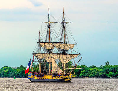 Photograph - The Lhermione - Tall Ship by Nick Zelinsky