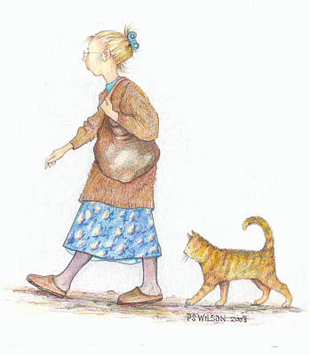Pencil Drawing Mixed Media - The Librarian's Cat by Peggy Wilson