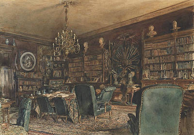 Library Painting - The Library In The Apartment Of Count Lanckoronski In Vienna, Riemergasse 8 by Rudolf von Alt