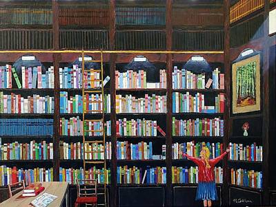 Painting - The Library by Mike Caitham