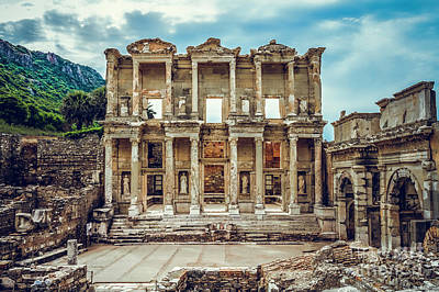 Library Of Celsus Photograph - The Library Of Celsus by Mirko Chianucci
