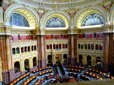 Digital Art - The Library Of Congress Main Reading Room by Ed Weidman