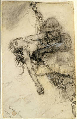 Winslow Homer Drawing - The Life Line Charcoal by Winslow Homer