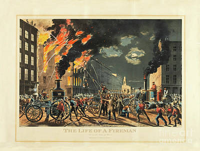 Photograph - The Life Of A Fireman - The New Era - Steam And Muscle - 1861 -  by Doc Braham