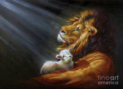 Lion And The Lamb Painting - Isaiah - The Light by Charice Cooper