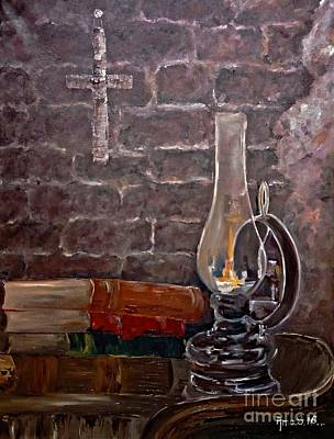 Painting - The Light From Books by AmaS Art