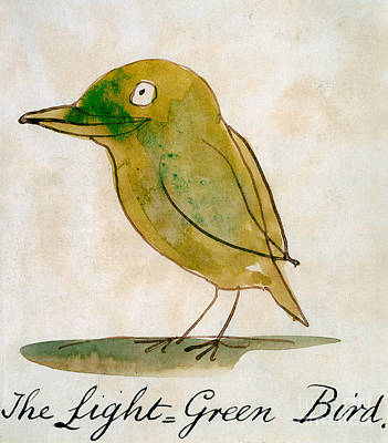 Cute Cartoon Painting - The Light Green Bird by Edward Lear