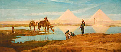 Pyramid Of The Sun Painting - The Light Of The Rising Sun Upon The Pyramids Of Ghizeh by Frederick Goodall