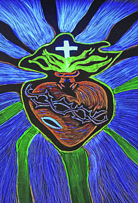 Drawing - The Light Of The Sacred Heart by Lisa Brandel