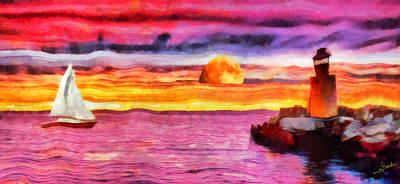 Seascape Painting - The Lighthouse 2 by George Rossidis