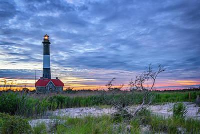 The Lighthouse At Dusk Art Print by Rick Berk