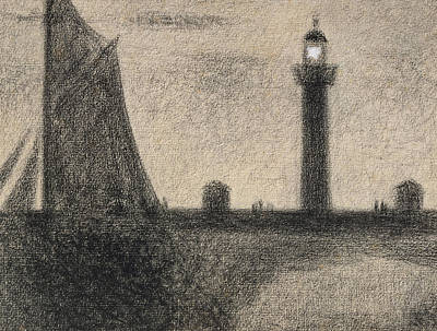 Harbour Drawing - The Lighthouse At Honfleur by Georges Pierre Seurat