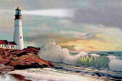 Portland Head Lighthouse Painting - The Lighthouse At Portland Head by Ron Chambers
