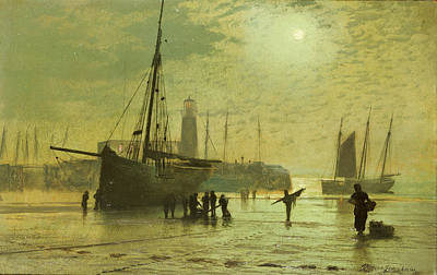 Moonlight Painting - The Lighthouse At Scarborough by John Atkinson Grimshaw