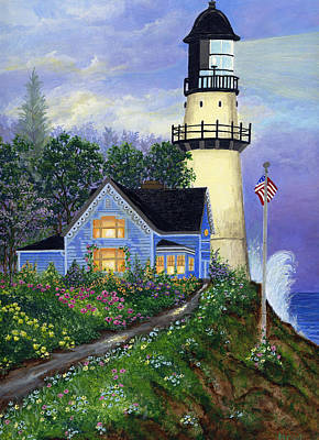 Lighthouse By The Ocean Painting - The Lighthouse by Bonnie Cook