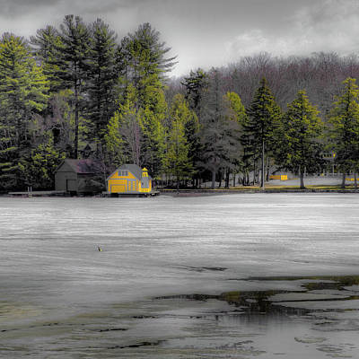 Print featuring the photograph The Lighthouse On Frozen Pond by David Patterson