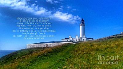 Photograph - The Lighthouse On The Mull With Poem by Joan-Violet Stretch