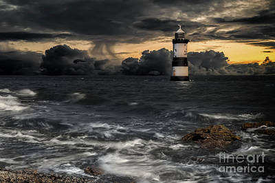 Puffins Photograph - The Lighthouse Storm by Adrian Evans