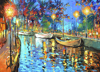 Painting - The Lights Of The Sleeping City by Dmitry Spiros