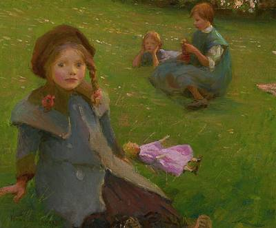 Lilac Time Painting - The Lilac Doll by Harold Harvey