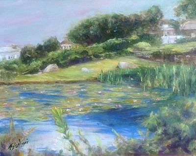Painting - The Lily Pond by Anne Barberi