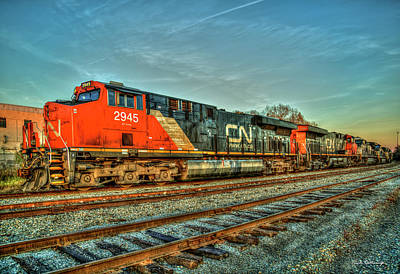Photograph - The Line Up Canadian National Norfolk Southern Locomotives Art by Reid Callaway