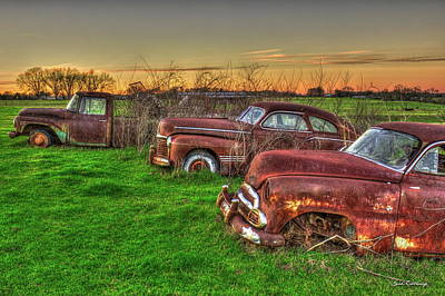 Photograph - The Line Up Rusty Classic Historic Rusty Car Art by Reid Callaway