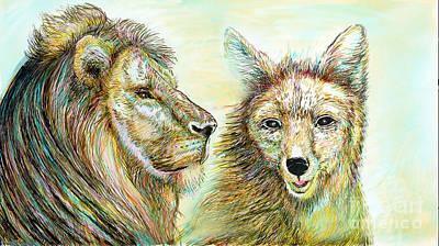 Fox Digital Art - The Lion And The Fox 3 - To Face How Real Of Faith by Sukalya Chearanantana