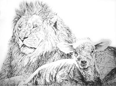 Drawing - The Lion And The Lamb by Bryan Bustard