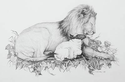 Lion And The Lamb Drawing - The Lion And The Lamb by Jill Iversen