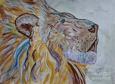 The Tiger Mixed Media - The Lion Call by Ella Kaye Dickey