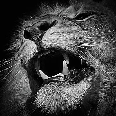 Digital Art - The Lion Digital Art Bw by Ernie Echols