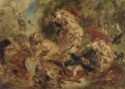 Painting - The Lion Hunt by Eugene Delacroix