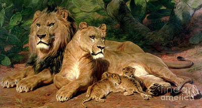 Suckling Painting - The Lions At Home by Rosa Bonheur
