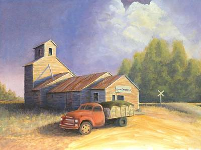 Old Barn Painting - The Lisco Elevator by Jerry McElroy