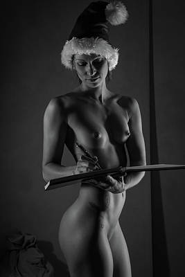 Nudes Photograph - The List II - Sexy Santa Vi by Blue Muse Fine Art