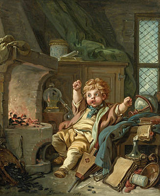 Painting - The Little Alchemist Or An Allegory Of Chemistry by Francois Boucher