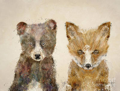 Bear Digital Art - The Little Bear And Little Fox by Bri B