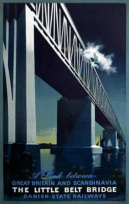 Train Mixed Media - The Little Belt Bridge - Danish State Railways - Retro Travel Poster - Vintage Poster by Studio Grafiikka