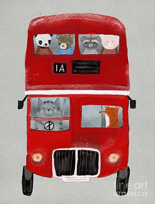 Painting - The Little Big Red Bus by Bleu Bri