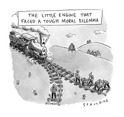 Drawing -  The Little Engine That Faced A Tough Moral Dilemma by Trevor Spaulding